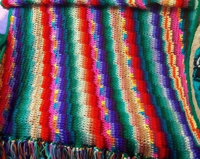 """45"""" x 60"""" One of a Kind Afghan of Many Colors, Crocheted Blanket"""