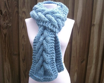 Blue Scarf, Blue Knit Scarf, Cable Scarf, Sky Blue Scarf, Blue Cable Scarf, Winter Scarf, Womens Scarf, Womens Accessories