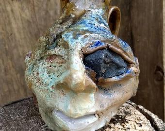 sculptural Charleston elf FACE JUG by Joel Patton, ash glaze