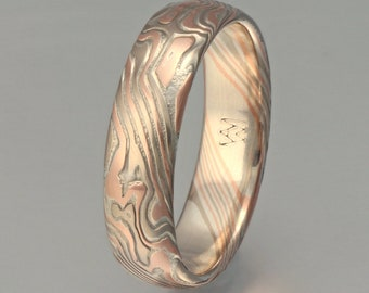 Custom Mokume Gane Ring -  14k palladium white gold, 14k rose gold and silver, woodgrain pattern