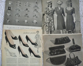 Four Pages of Ephemera from a 1946 Aldens Catalog and a 1958 Sears Catalog, Women's Dresses, Shoes, Purses, Wallets. Rings