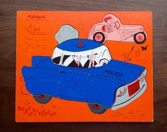 Vintage Playskool Wood Police Car Puzzle