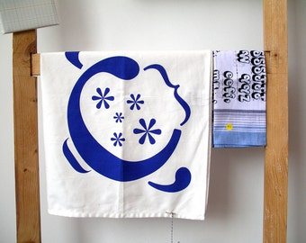 kitchen Tea Towel 'Just my cup of Tea'  graphic silkscreen print in blue or red