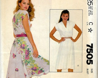 1980's Summer Pullover Dress with Front Cross-over Bodice and Semi-Circular Skirt , McCall's Sewing Pattern 7505  - Bust 32 1/2