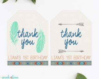 Tribal Favor Tags, Wild One Favor Tags, Arrow Thank You Tags, Boho Thank You Tag, Aztec Tags, Wild One, Birthday Tags, Feathers Tags