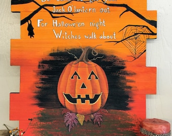 Handpainted Original Halloween Art, OOAK Unique Scary Art, Jack-o-lantern,Spooky Fall Autumn Decor,October Trick-or-treat Artwork