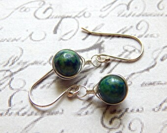 Chrysocolla and Sterling Silver Wire Wrapped Herringbone Earrings - Small Gemstone Earrings