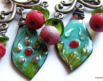 Turquoise red earrings cherry green enamels on copper titanium glass candlestick
