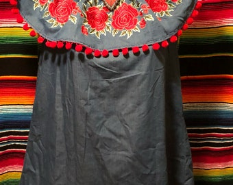 Upcycled denim rose embroidery dress off shoulder small medium large xlarge