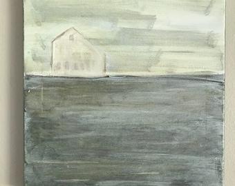 Farmhouse Barn in foggy field painting - 12 x 12 acrylic on canvas