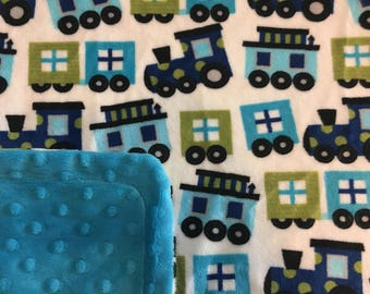 Minky Blanket Trains Print Minky with Dark Turquoise Dimple Dot Minky Backing - Great Gift for a Baby or Toddler