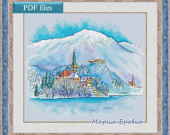 "Cross Stitch Pattern ""Winter in a mountain town"" DMC Cross Stitch Chart Needlepoint Pattern Embroidery Chart Printable PDF Instant Download"