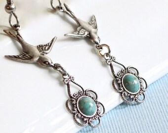Silver Bird Earrings - Turquoise Earrings, Filigree Earrings, Bird Jewelry, Nature Jewelry