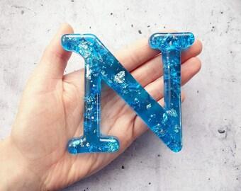 Alphabet Letter N, Wall Letter N, Blue Resin Silver Leaf, Decorative Letter, Blue Letter, Letter Wall Art, Wall Letter, Hanging Letter