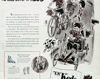 1946 US Keds Shoes Ad - Footwear for Active Boys - 1940s Happy Children Playing - Jack Welch Art Illustration - Boy's Room Art Decor