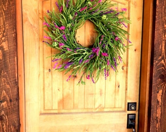 Spring Wreath-Summer Wreath-Wreaths-Farmhouse Home Decor-PURPLE WILDFLOWERS-Scented Twig Wreath-Country Home Decor-Gift For Mom-Door Wreath