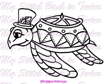 Digital stamp colouring image -  Steampunk Turtle . jpeg / png