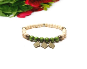 Natural raw wood and green wood beaded bracelet