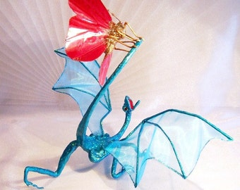 Turquoise Dragon Attacked by a Red Butterfly: Dragon Art Doll