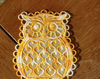Embroidered Magnet - Owl All Thread - Multi Yellows