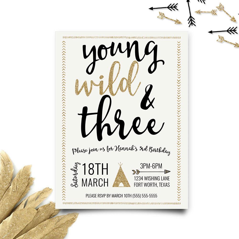 Young wild and three birthday invitation third birthday zoom filmwisefo Images