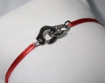 Handcuff bracelet 925 Silver guarantees the originality with cord color choice
