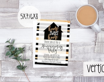 Black, White, & Gold Glitter Striped Housewarming Party Invitation - 5x7 or 6x8, Home Sweet Home, New Home, Home Owners, Digital Print