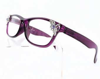 Reading glasses with dragonfly, readers +1.75