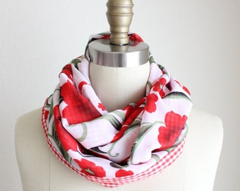 Red Gingham and Flowers Reversible Infinity Scarf