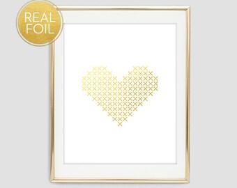 Gold Foil Cross Stitch Heart Wall Print, Foil Heart Print, Gold Foil Heart Print, Cross Stitch Heart Print, Gold Wall Decor, F3