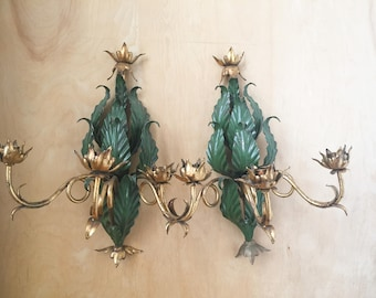 Pair Italian Tole 3 Arm Candle Sconces with Green Foliage