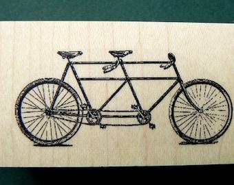 tandem bicycle rubber stamp  P11