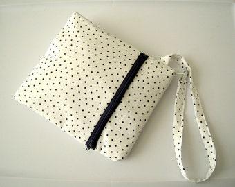 White and Blue Polka Dot Double Zippered Wristlet