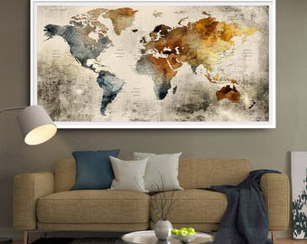 World Map Wall Art, Large Wall Decor, Extra Large Wall Art, Extra Large Art,  Rustic Home Decor, Push Pin World Map Poster (L110)