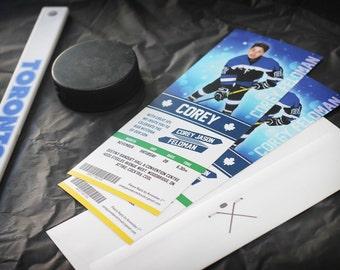 Hockey Bar Mitzvah Invitation - Bar Mitzvah Invitation - Sports Bar Mitzvah Invitation - Hockey Ticket Invitation - Sports Ticket Invitation