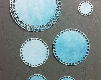 Set of 7 EMBELLISHMENTS - cut die - cut scrap paper cardstock embellishment scrapbooking