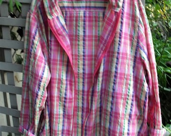 Plisse Hoodie Jacket/ Oversize Jacket/ Confetti Color Cotton/ Zip Front Jacket/ Retro Plisse Fabric/ 3X Hoodie Jacket/ Shabbyfab Funwear