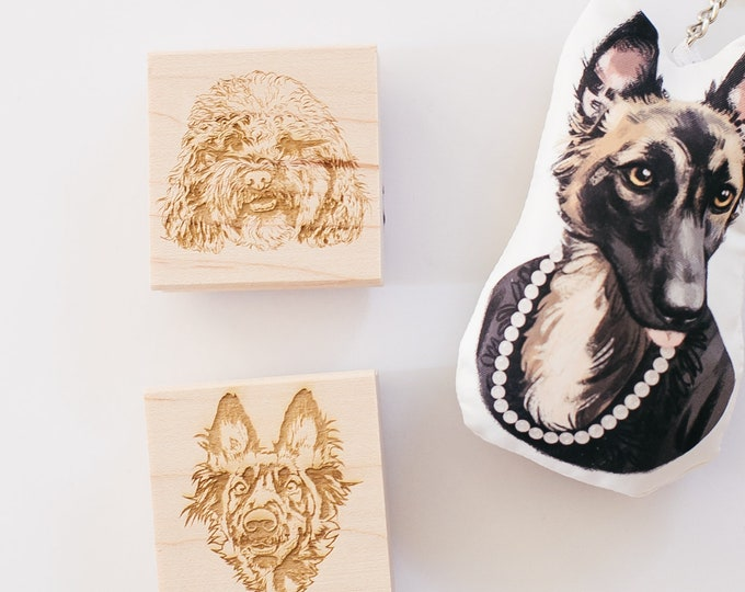 Featured listing image: Pet Portrait, Custom Pet Stamp, Pet Christmas Rubber Stamp, Christmas Stamp, Dog Stamp, Cat Stamp, Personalized Pet Stamp, Pet Christmas