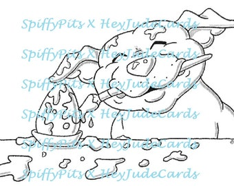 Digital Stamp or Coloring Page - Pitbull Easter Egg Painting (with Splatter!!!) - A portion of every sale to RESCUES!!!