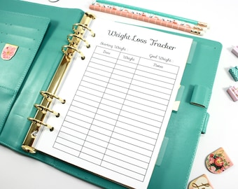 Digital A5 Planner Weight Loss Tracker, Digital Filofax A5 Inserts, Color Crush A5 Planner Inserts, Printable A5 Fitness Planner