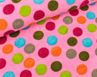 Summer Terry Silas Pink with colorful dots bamboo (13.90 EUR/meter)