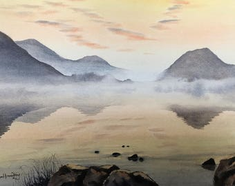 Mountain paintings, landscape watercolours, original paintings, misty mountains, lakeland paintings, wet in wet paintings,  rising mist.