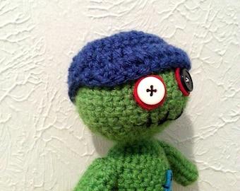 Zombie Baseball Hat, Crochet Mini-Hat, Small Baseball Hat, Stuffed Animal Accessory