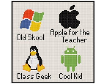 OS School - Android Linux Windows Apple - Cross Stitch PDF Pattern Instant Download