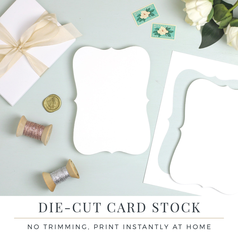 Perforated bracket shape card stock die cut for wedding zoom stopboris Choice Image
