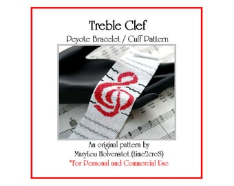 Peyote Bracelet Pattern ... TREBLE CLEF ... Music . G Clef . Musician . Notation . Musical Gift . Modern . Bold . Tutorial . Beadweaving