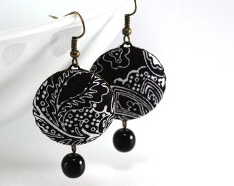 Dangle Earrings - Art Deco Night - Black and White Flowers - Romantic Fabric Covered Buttons Earrings, Classic Czech Beads, Elegant Jewelry