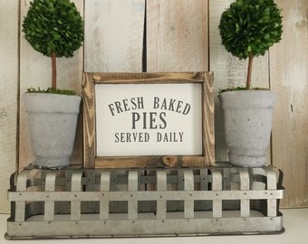 Fresh Baked Pies Sign, Fresh Baked Pies Served Daily, Fresh Baked Pies, Bakery Decor, Pies Sign, Kitchen Wall Decor, Farmhouse Kitchen
