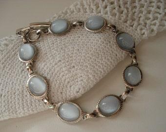 Vintage Light Ice Blue Moonstone Glass Silver Plated Bracelet Winter Sky