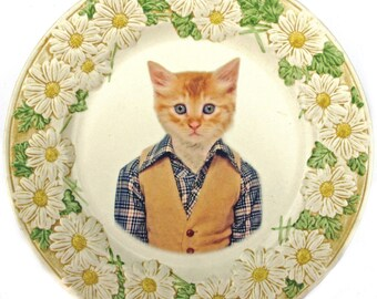 SALE - Damaged - Tommy Cat, School Portrait - Altered Vintage Plate, 10.5""